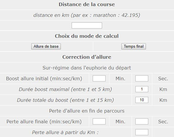 simulateur de calcul temps de passages 10km semi marathon mode d 39 emploi passion trail. Black Bedroom Furniture Sets. Home Design Ideas